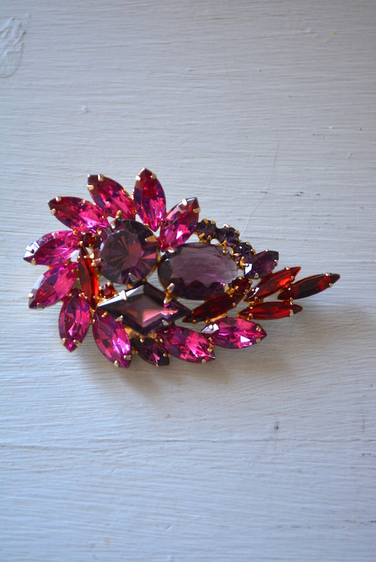 Pink Rhinestone Brooch, Pink Brooch, Pink Sapphire Brooch, Ruby Brooch, Amethyst Brooch, Pink and Red Brooch, Pink and Purple Brooch, Purple Brooch, Red Brooch