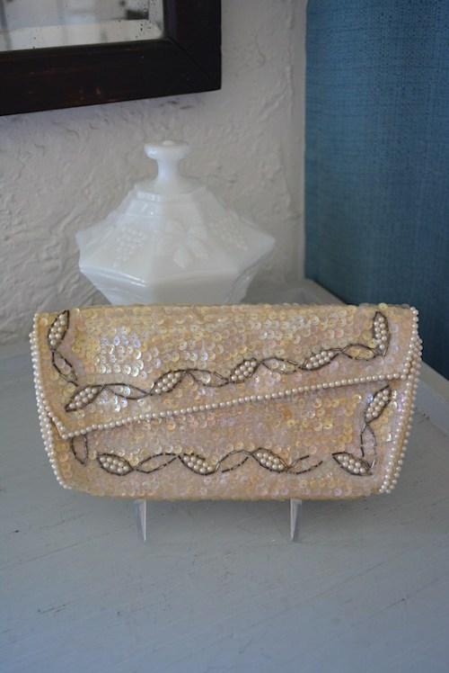 Ivory Sequin Purse,Vintage Clutch,La Regale,La Regale Purse, Sequin Purse