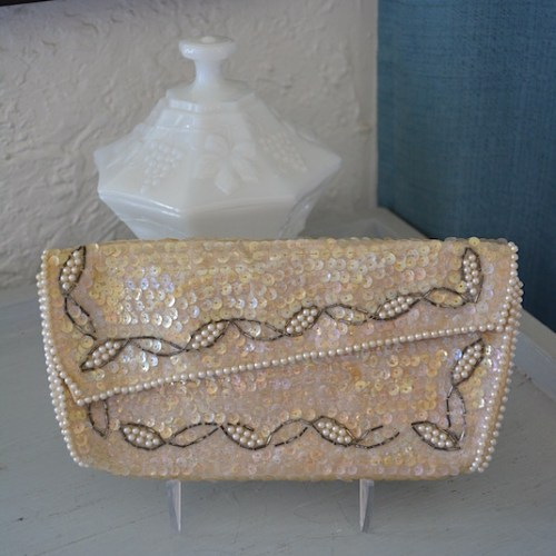 Ivory Sequin Purse,Vintage Clutch,La Regale,La Regale Purse, Sequin Purse