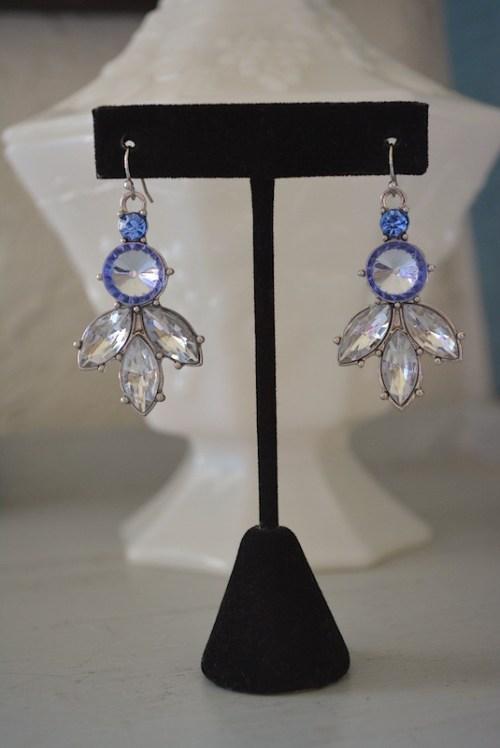 Sapphire and Rhinestone Earrings,Sapphire Earrings