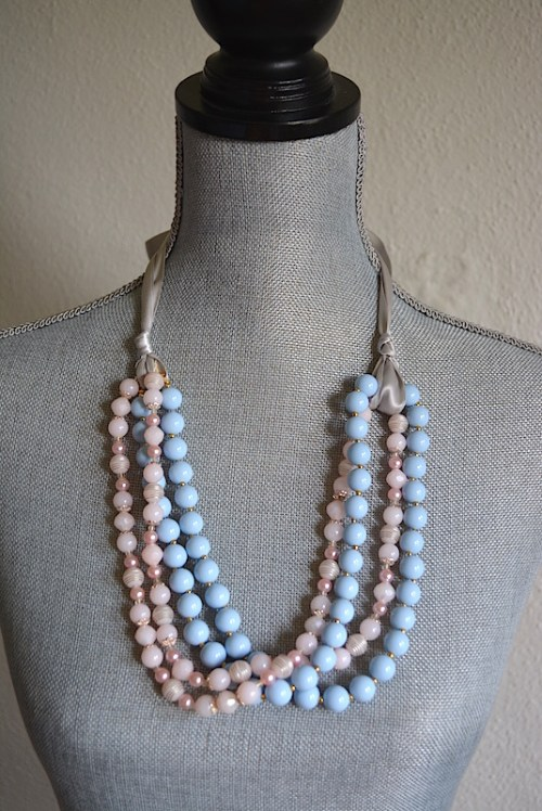 Ribbon Necklace, Pink and Blue Necklace, Blue Necklace, Pink Beaded Necklace, Pink Beaded Necklace, Pink Necklace, Pale Pink Necklace