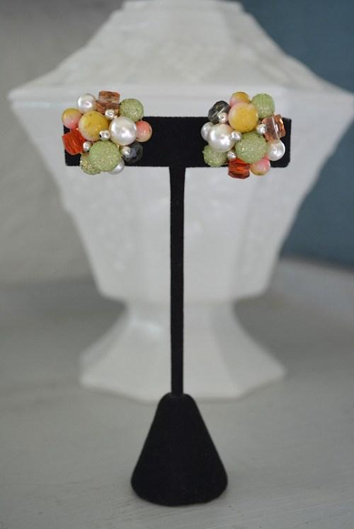 Multicolored Beaded Earrings, Button Earrings, Vintage Button Earrings, Green Earrings, Bright Earrings