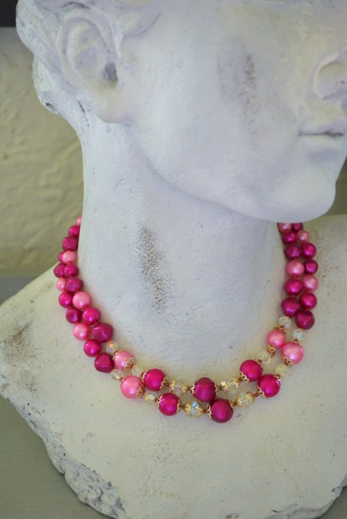 Bright Pink Beaded Necklace, Berry Necklace
