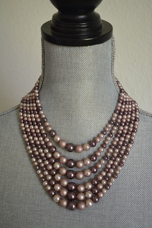 Mauve Beaded Necklace, Mauve Necklace, Purple Necklace, Taupe Necklace, Rose Necklace, Dusty Rose Necklace, Vintage Beaded Necklace
