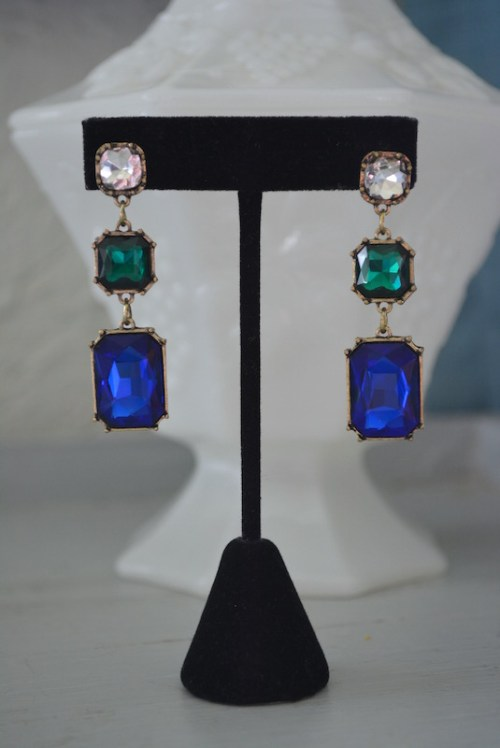 Sapphire Drop Earrings, Sapphire Earrings, Emerald Earrings, Sapphire and Emerald Earrings, Chandelier Earrings, Drop Earrings, Blue Drop Earrings, Green and Blue Earrings