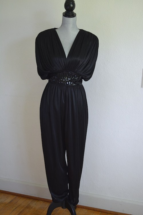 Black Jumpsuit, Vintage Clothes, Vintage Jumpsuit, Lizzy & Johnny, 1980's Fashion, Black Romper, Retro Clothes