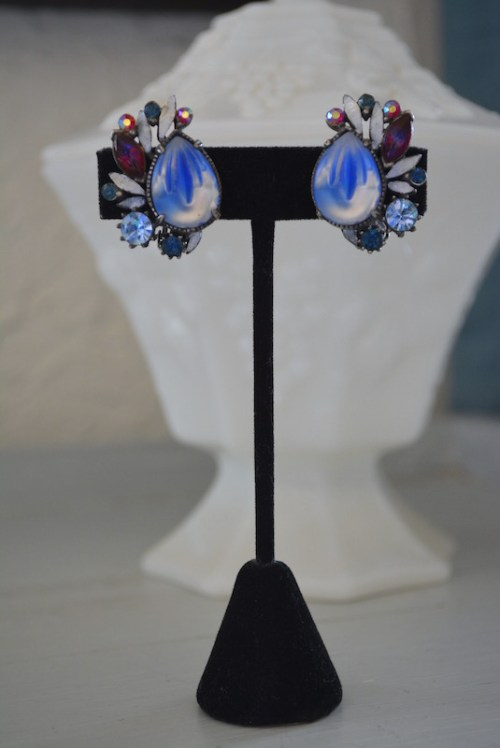 Blue Fan Earrings, Florenza Earrings, Florenza, Florenza, Vintage Signed Costume Jewelry, VIntage Earrings, Vintage Florenza Earrings