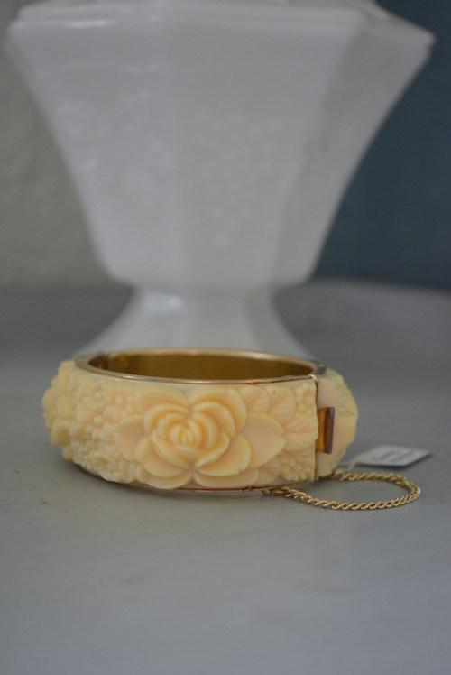 Faux Ivory Bracelet, Ivory Bracelet, Vintage Bracelet, Vintage Bangle Bracelet, Flowered Bracelet, Carved Bracelet