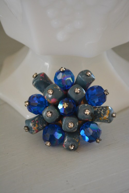 Blue Brooch, Bridal Blue, Bridal Fashion, Blue Pin, Blue Crystal Brooch, Vintage Blue Brooch, Bridal Jewelry