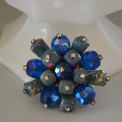 Blue Brooch, Bridal Blue, Bridal Fashion, Blue Pin, Blue Crystal Brooch, Vintage Blue Brooch, Bridal Jewelry