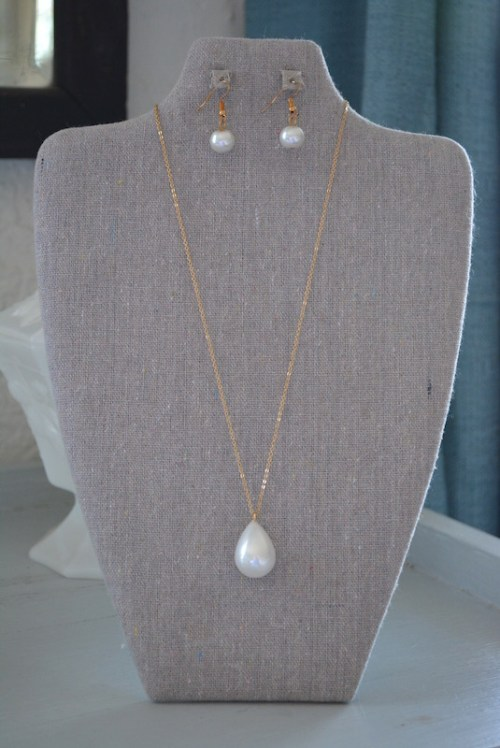 Oval Pearl Necklace Set, Pearl Necklace and Earrings, Necklace and Earrings
