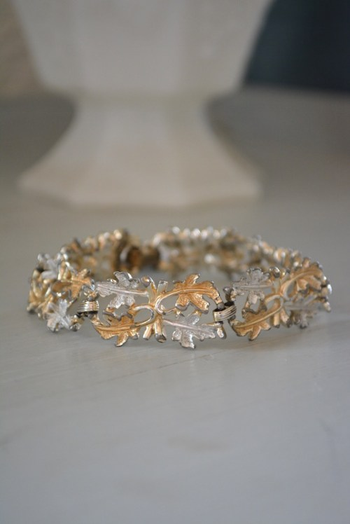 Leaf Bracelet, Sarah Coventry Bracelet, Signed Sarah Coventry Jewelry, Sarah Coventry Bracelet, Leaves Jewelry, Silver and Gold Leaves, Leaves Bracelet