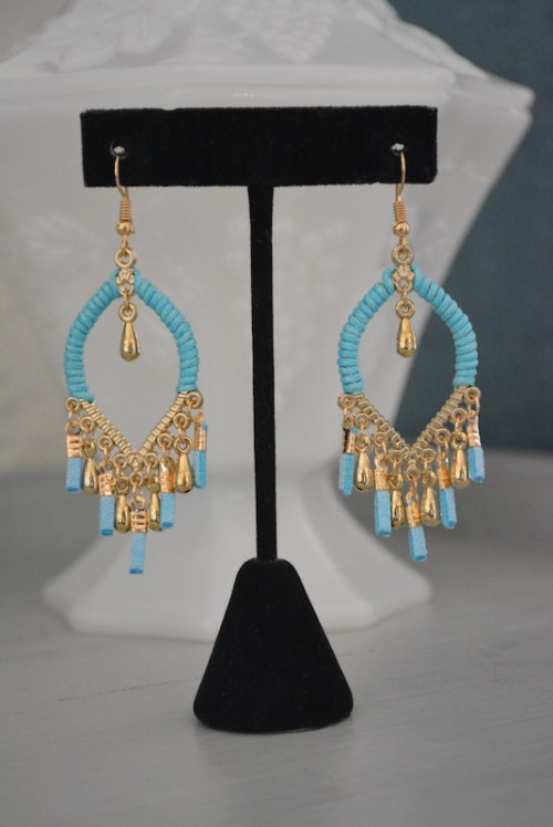 Turquoise and Gold Drop Earrings, Turquoise Earrings, Blue and Gold Earrings, Fringe Earrings, Teardrop Earrings, Sari Earrings, Sari Fashion