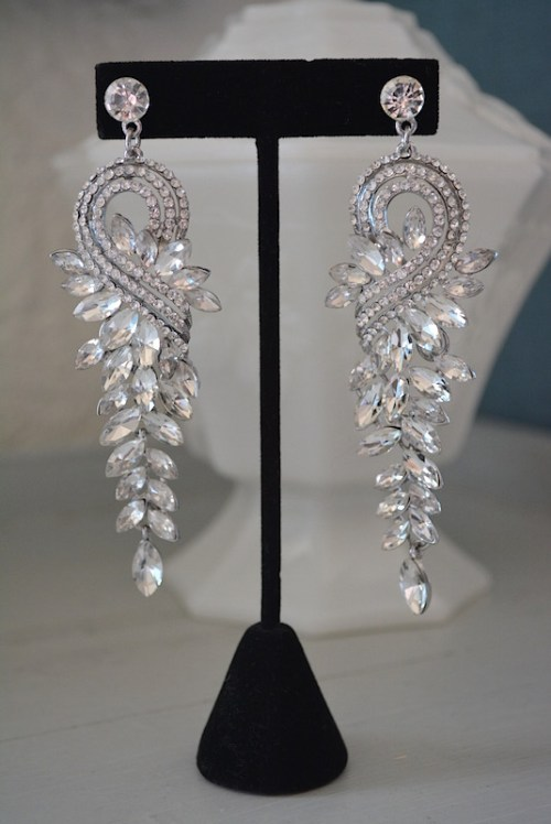 Rhinestones Drop Earrings, 1950's Starlets, Rhinestone Drop Earrings, Statement Earrings, Rhinestone Statement Earrings, Bridal Jewelry, Bride, Cocktail Jewelry, After 5 Earrings