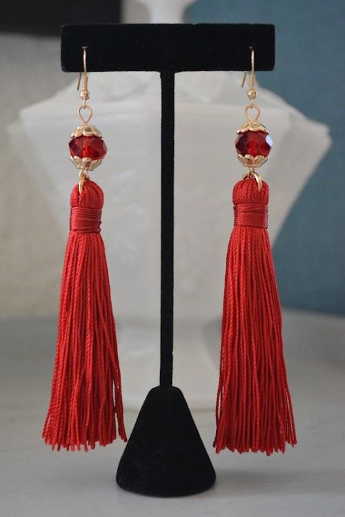 Red Tassel Earrings, Red Fringe Earrings, Fringe Jewelry, Red Earrings, Statement Earrings, Red Jewelry, Tassel Earrings