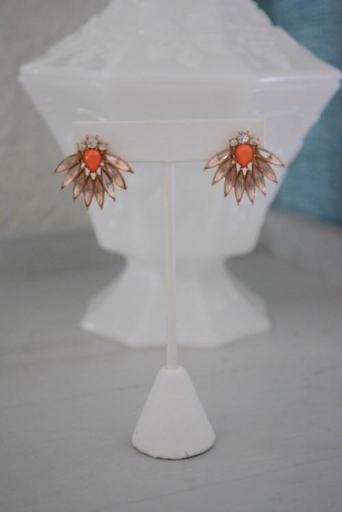 Peach Fan Earrings, Fan Earrings, Peach Earrings, Peach Jewelry, Orange Earrings