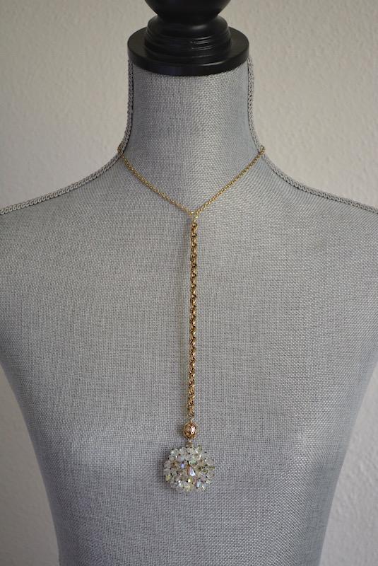 Crystal Pendant Necklace, Vintage Parts, Repurposed Jewelry, Repurposed Necklace, Crystal Necklace, Swarovski Crystal Necklace, Vintage Chains, Gold and Crystal Necklace