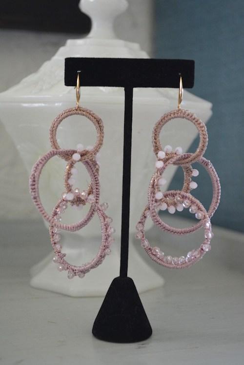 Pink Hoops Earrings, Pink Earrings, Hoop Earrings, Dusty Pink Jewelry, Mauve Earrings, Mauve Jewelry, Statement Jewelry, Crocheted Jewelry