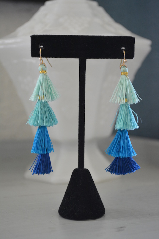 Mini Blue Fringe Earrings, Blue Fringe Earrings, Blue Jewelry, Fringe Earrings, Tiffany Blue Jewelry, Turquoise Jewelry, Mint Jewelry, Navy Jewelry, Blues Jewelry, Bohemian Jewelry