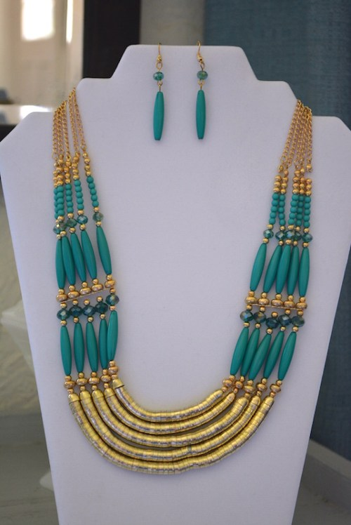 Gold and Turquoise Necklace Set, Turquoise Necklace Set, Turquoise Jewelry, Turquoise and Gold Jewelry, Cleopatra Jewelry, Necklace and Earrings, Beaded Jewelry