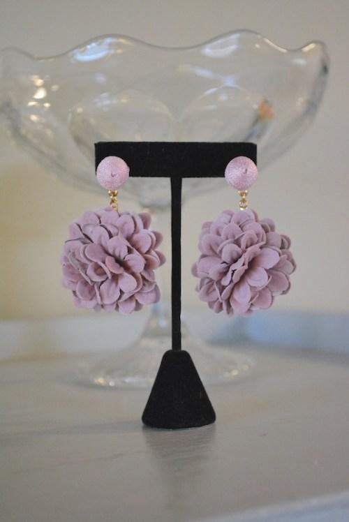 Mauve Flower Earrings, Flower Earrings, Pink Flower Earrings, Flower Earrings, Flower Jewelry