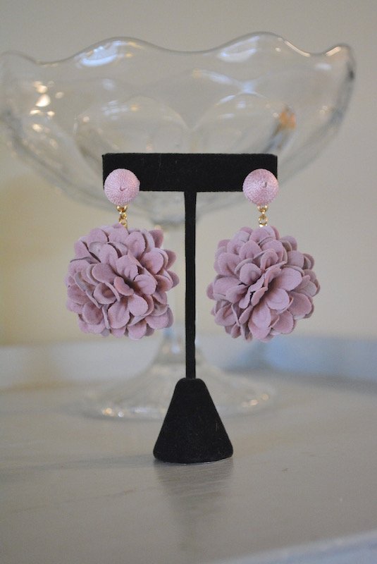 Mauve Flower Earrings, Flower Earrings, Pink Flower Earrings, Flower Earrings, Flower Jewelry