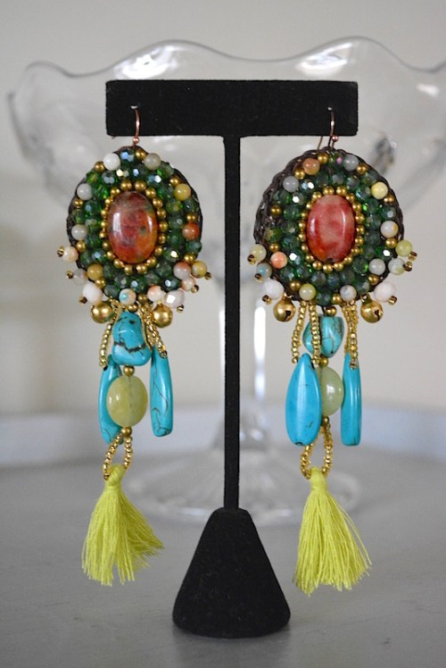 Turquoise Stones Earrings, Stones Earrings, Rocks Earrings, Statement Earrings, Statement Jewelry