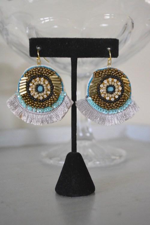 Taupe Beaded Earrings, Beaded Earrings, Boho Style Jewelry