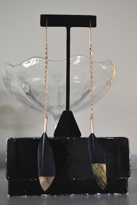 Black Feather Earrings, Feather Earrings, Feather Jewelry