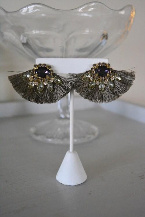 Grey Fringe Fan Earrings, Fan Earrings, Fringe Earrings