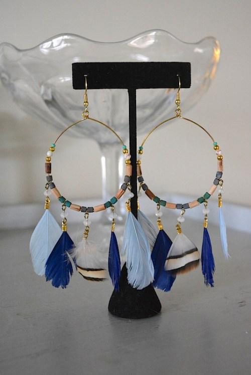 Dreamcatcher Earrings, Feather Earrings, Hoop Earrings