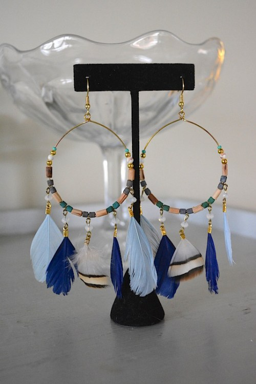 Dreamcatcher Earrings, Feather Earrings, Hoop Earrings