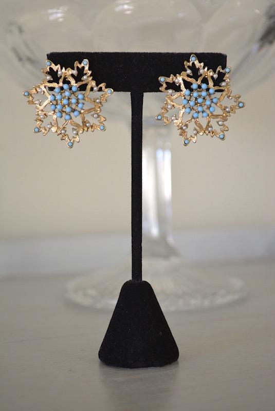 Blue Flower Earrings, Bridal Jewelry, Bridal Earrings, Bridal Blue