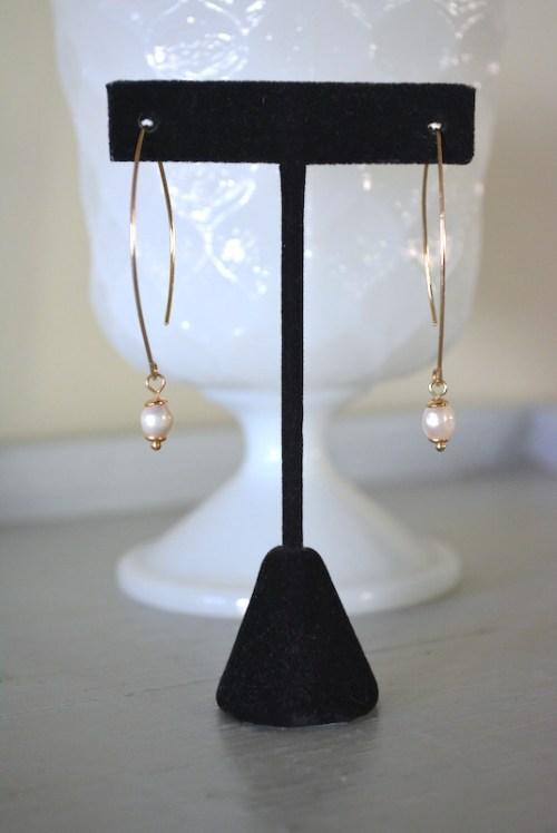 Pearl Teardrop Hoop Earrings, Pearl Earrings, Open Pearl Hoops