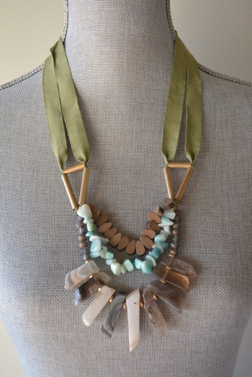 Sage Ribbong and Stones Necklace, Stones Necklace