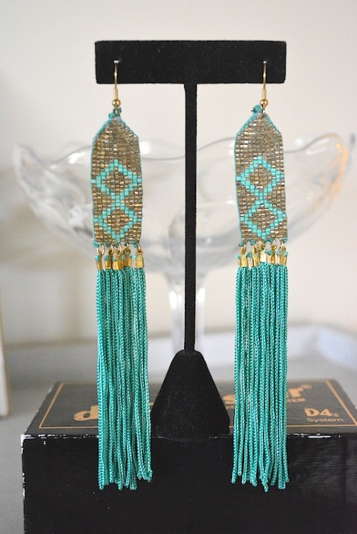 Teal Diamond Fringe Earrings, Fringe Earrings, Turquoise Earrings, Native American Earrings