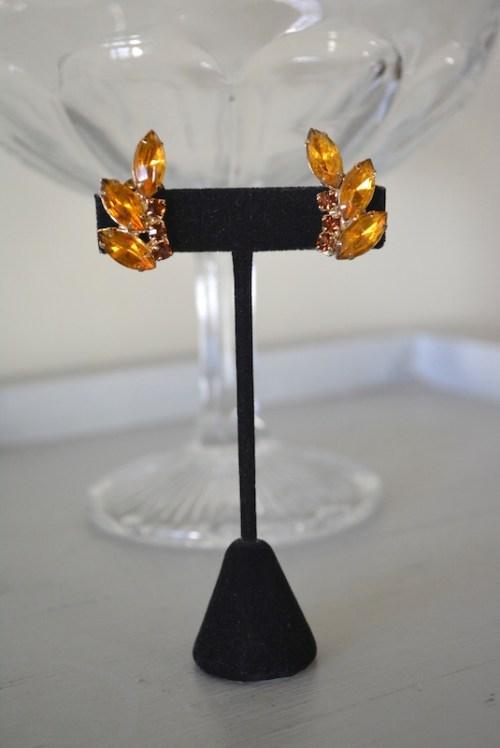 Topaz Fan Earrings, Topaz Earrings, Vintage Topaz Earrings, Brown Earrings, Vintage Brown Earrings