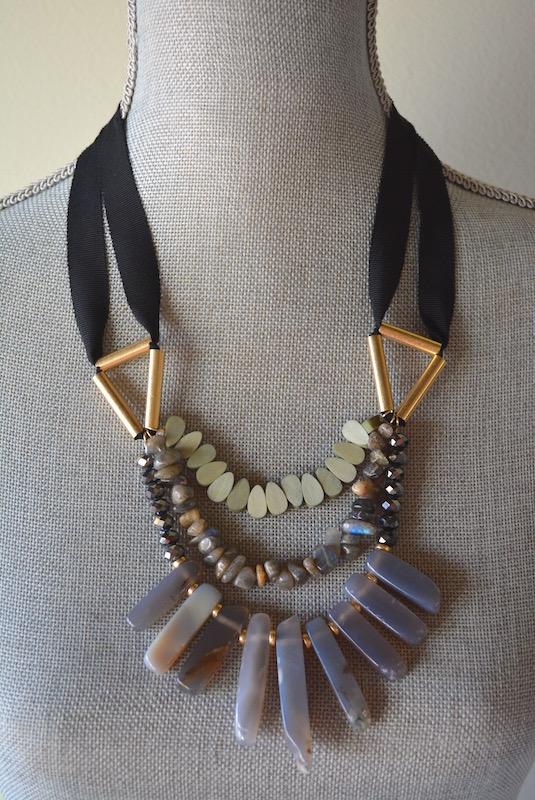 Black Ribbon and Stones Necklace, Stones Necklace, Boho Jewelry, Boho Necklace
