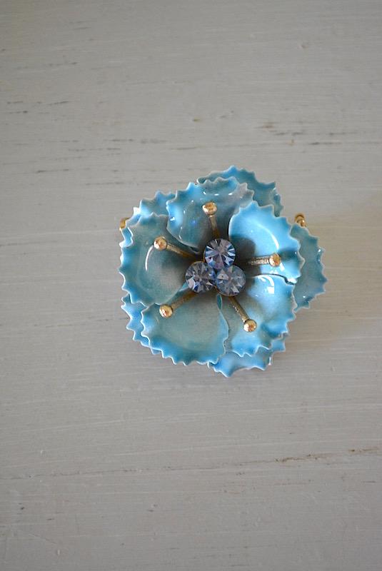 Blue Flower Enamel Brooch, Blue Flower Brooch, Forget Me Not Brooch, Flower Brooch, Vintage Flower Brooch, Enamel Brooch