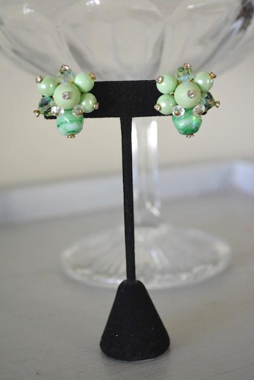 Melon Green Beaded Earrings, Vendome Earrings, Vendome Jewelry, VIntage Earrings, Green Earrings