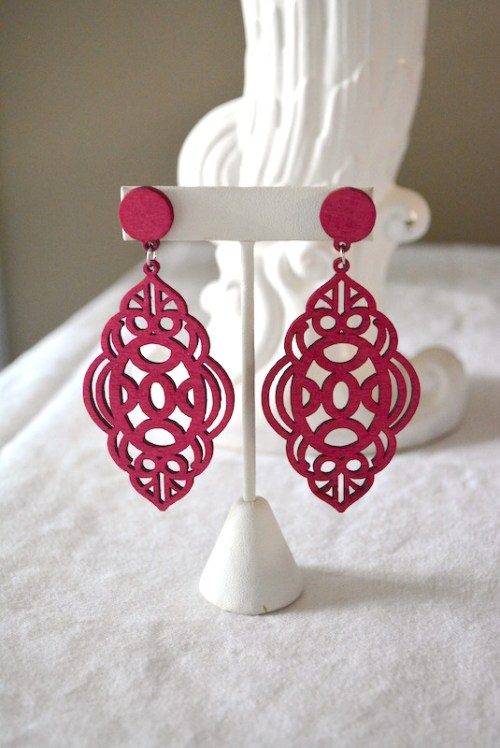 Fuchsia Earrings, Fuchsia Jewelry, Pink Earrings, Bright Pink Earrings, Lattice Earrings
