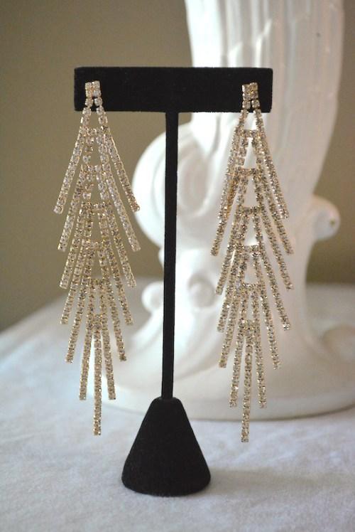 Rhinestone Teepee Earrings, Rhinestone Earrings, Statement Earrings, Rhinestone Statement Earrings, 1970s Glam Earrings, Studio 54 Jewelry, Glam Rock Jewelry