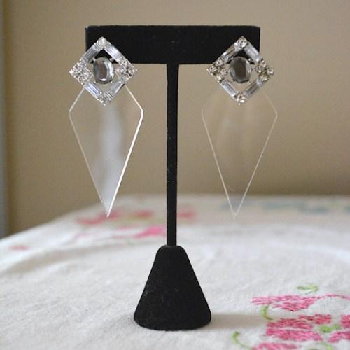 Clear Diamond Earrings, 1980's Inspired Earrings, 1980's Inspired Jewelry