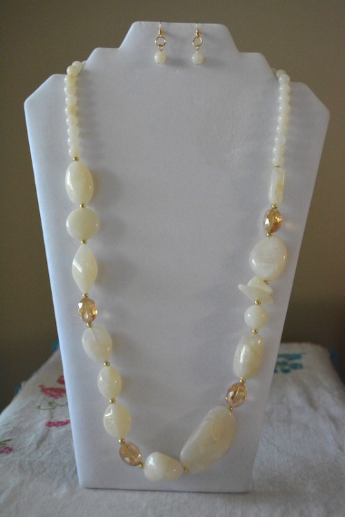 Long White Beaded Necklace Set, White Necklace Set, White Beaded Necklace Set, White Necklace and Earrings