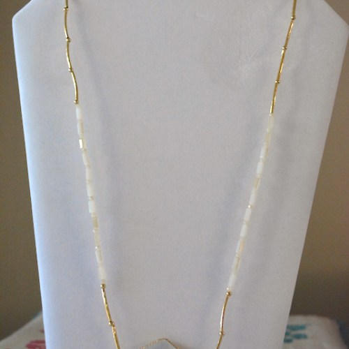 Clear Beaded Necklace, Clear Necklace, White and Gold Necklace, Crystal Necklace