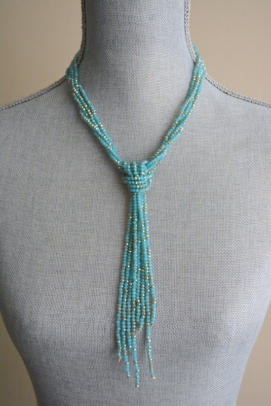 Blue Bowtie Necklace, Blue Necklace, Blue Beaded Necklace