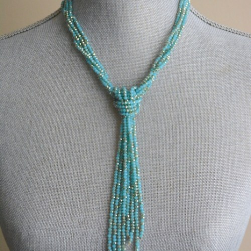 Blue Bowtie Necklace, Blue Necklace, Blue Beaded Necklace