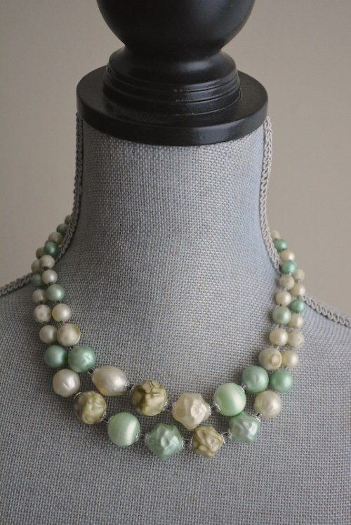 Sherbet Green Necklace, Green Beaded Necklace, Vintage Green Necklace, Green Necklace, Vintage Green Jewelry, Green Beaded Necklace
