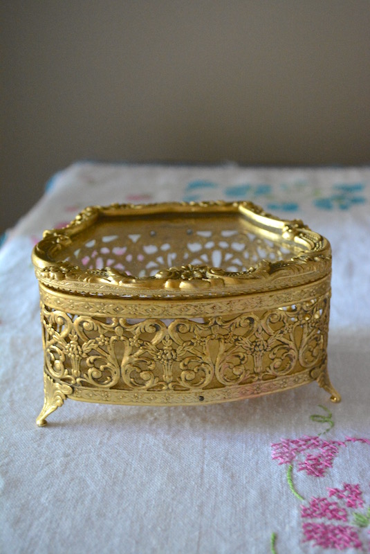 Jewelry Casket, Jewelry Box, Brass Jewelry Box, Filigree Jewelry Box