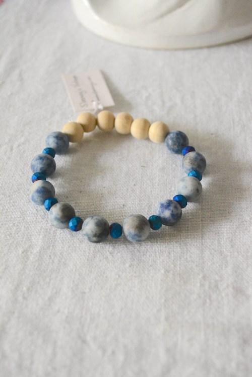 Natural Stone Bracelet, Navy Bracelet, Blue Bracelet, Navy Jewelry, Rock Bracelet, Stone Bracelet